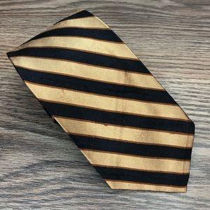 Robert Talbott Navy, Tan & Gold Stripe Tie